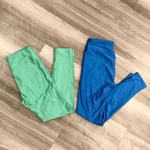 LuLaRoe One Size Leggings Bundle of 2 Green & Blue